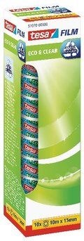 Klebefilm tesa Eco & Clear 10 m x 15 mm, Office Box, 10 Stück (10 Rollen)