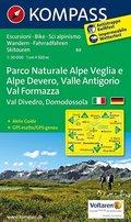 Kompass Karte Parco Naturale Alpe Veglia e Alpe Devero, Valle Antigorio, Val Formazza, Val Divedro, Domodossola