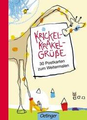 Krickel-Krakel-Grüße - 30 Postkarten zum Weitermalen