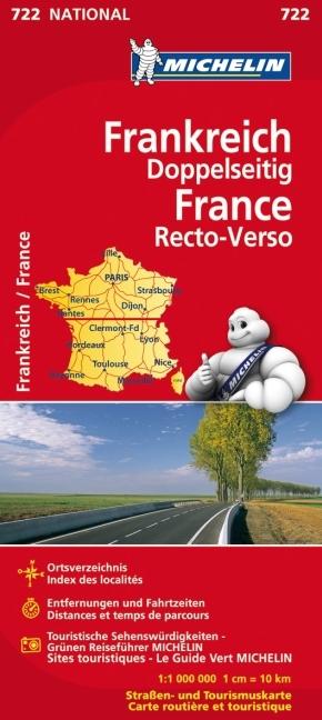 Michelin Karte Frankreich, doppelseitig; France, recto-verso