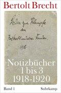 Notizbücher: Notizbücher 1 bis 3 (1918-19209; Bd.1