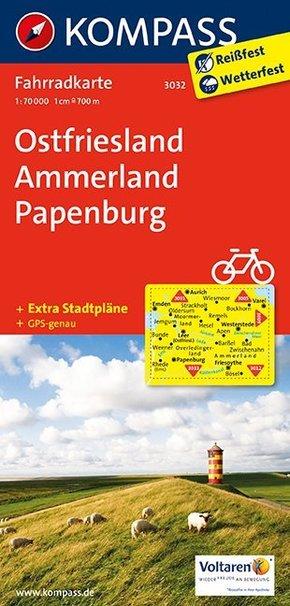 Kompass Fahrradkarte Ostfriesland, Ammerland, Papenburg