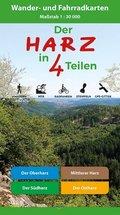 Der Harz in 4 Teilen, 4 Wander- und Fahrradkarten
