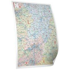 Bacher Postleitzahlenkarte Hessen, Posterlandkarte beschichtet