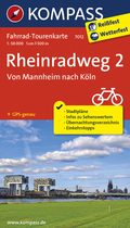 Kompass Fahrrad-Tourenkarte Rheinradweg - Tl.2