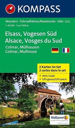 Kompass Karte Elsass, Vogesen Süd, 2 Bl.; Alsace, Vosges du Sud