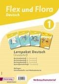 Flex und Flora - Deutsch: Lernpaket Deutsch 1 in Grundschrift (Verbrauchsmaterial), 4 Hefte