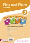 Flex und Flora - Deutsch: Lernpaket Deutsch 2 (Verbrauchsmaterial), 4 Hefte