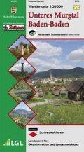 Topographische Wanderkarte Baden-Württemberg Unteres Murgtal, Baden-Baden