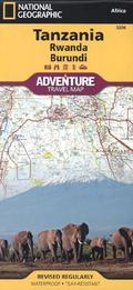 National Geographic Adventure Travel Map Tanzania, Rwanda, Burundi