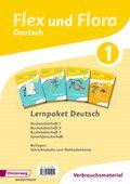 Flex und Flora - Deutsch: Lernpaket Deutsch 1 (Verbrauchsmaterial), 4 Hefte