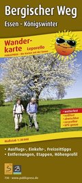 PublicPress Leporello Wanderkarte Bergischer Weg, Essen - Königswinter, 22 Teilktn.