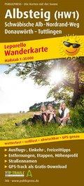PublicPress Leporello Wanderkarte Albsteig (HW1), Schwäbische Alb-Nordrandweg, Donauwörth - Tuttlingen