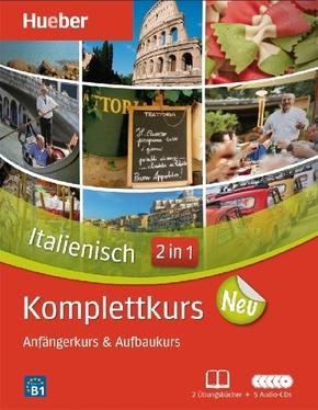 Komplettkurs Italienisch neu, 2 Übungsbücher, Begleitheft u. 8 Audio-CDs