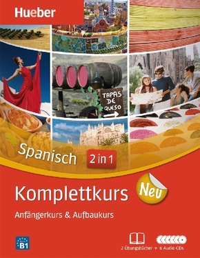 Komplettkurs Spanisch neu, 2 Übungsbücher, 1 Begleitheft u. 6 Audio-CDs
