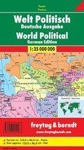 Freytag & Berndt Poster Welt, politisch, ohne Metallstäbe; World, political