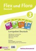 Flex und Flora - Deutsch: Lernpaket Deutsch 3 (Verbrauchsmaterial), 4 Hefte