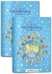 ABC der Tiere, Ausgabe Bayern: 1. Jahrgangsstufe, Schreiblehrgang Druckschrift, Teil A und B  zu Lesen in Silben (Silbenfibel®), 2 Bde.