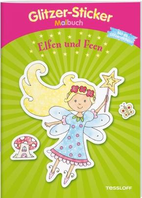 Glitzer-Sticker Malbuch. Elfen und Feen
