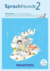 Sprachfreunde, Ausgabe Süd (2015): 2. Schuljahr, Arbeitsheft mit Lernstandserhebungen in Schulausgangsschrift