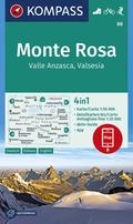 Kompass Karte Monte Rosa, Valle Anzasca, Valsesia