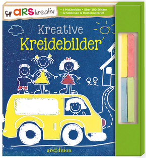 Kreative Kreidebilder - 4 Malkreiden, über 100 Sticker, Schablonen & Bastelmaterial