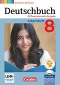 Deutschbuch, Differenzierende Ausgabe Nordrhein-Westfalen: 8. Schuljahr, Arbeitsheft mit Übungs-CD-ROM