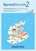 Sprachfreunde, Ausgabe Nord (2015): 2. Schuljahr, Arbeitsheft Fördern mit Lernstandserhebungen