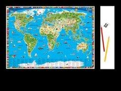 Erlebniskarte illustrierte Weltkarte Schreibunterlage