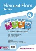 Flex und Flora - Deutsch: Lernpaket Deutsch 4 (Verbrauchsmaterial), 4 Hefte
