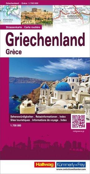 Hallwag Straßenkarte Griechenland; Grèce