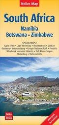 Nelles Map Landkarte South Africa, Namibia, Botswana, Zimbabwe; Südafrika / Afrique du Sud / Sudáfrica
