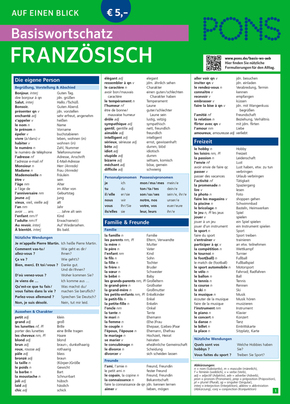 PONS auf einen Blick, Basiswortschatz Französisch