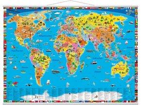Illustrierte politische Weltkarte, Planokarte m. Metallbeleistung