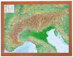 Alpen, Reliefkarte, mit Holzrahmen