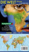 Wandkarte: Die Welt XXL, deutsch, Poster 1:20.000.000, Plano in Rolle