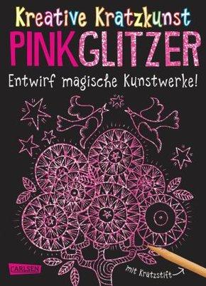 Kreative Kratzkunst: Pink Glitzer: Set mit 10 Kratzbildern, Anleitungsbuch und Holzstift