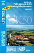 Topographische Karte Bayern Landkreise Pfaffenhofen a. d. Ilm, Neuburg-Schrobenhausen, Ingolstadt