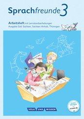 Sprachfreunde, Ausgabe Süd (2015): 3. Schuljahr, Arbeitsheft mit Lernstandserhebungen in Schulausgangsschrift