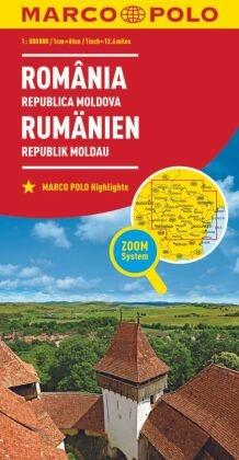 MARCO POLO Länderkarte Rumänien, Republik Moldau 1:800 000; Romania, Repubilca Moldova. Romania, Republic of Moldova. Ro