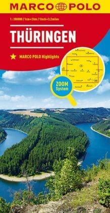 MARCO POLO Karte Thüringen; Thuringia. Thuringe