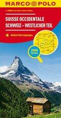 MARCO POLO Karte Schweiz - Westlicher Teil; Suisse occidentale / Svizzera occidentale / Western Switzerland