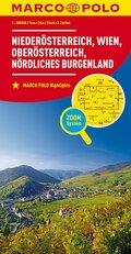 MARCO POLO Karte Niederösterreich, Wien, Oberösterreich, Nördliches Burgenland; Lower Austria, Vienna, Upper Austria, No