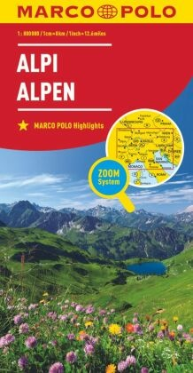Marco Polo Karte Länderkarte Alpen 1:800 000; Alpi / Alps / Alpes