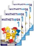 Mathetiger, Neubearbeitung 2016: 1. Schuljahr, Jahreszeiten-Hefte, 4 Hefte m. CD-ROM