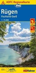 ADFC-Regionalkarte Rügen, Fischland-Darß mit Tagestouren-Vorschlägen, 1:75.000
