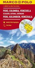 MARCO POLO Kontinentalkarte Peru, Kolumbien, Venezuela 1:4 000 000