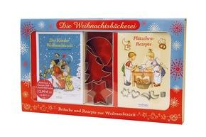 Backset: Die Weihnachtsbäckerei - Nostalgisches Weihnachtsbackset mit Bilderbuch, Rezeptheft und 3 Ausstechförmchen