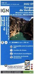 IGN Karte, Carte de randonnée (et plein air) Gorges du Verdon - Miustiers -Sainte-Marie - Lac de Sainte-Croix