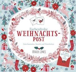 Farbenfrohe Weihnachtspost - Zum Ausmalen, Basteln und Verschicken. 24 Karten, Briefumschläge und Sticker